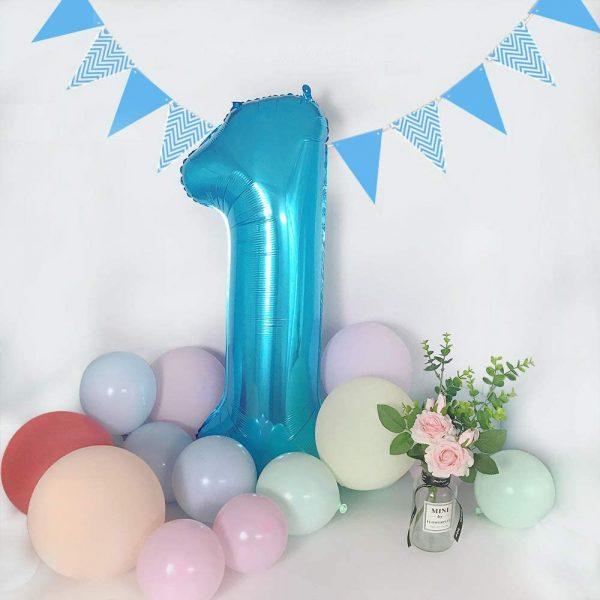 globos de numeros azules con helio santo domingo